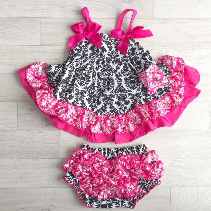 8b05a7136c533 Ensemble bébé   robe + bloomer 0 à 3 ans modèle Baroque Fushia