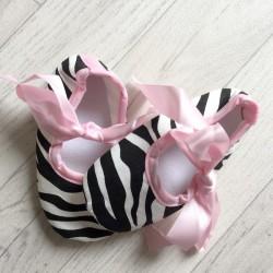 Ballerine souple bébé 0 à 12 mois, modèle Zébré rose