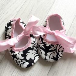 Ballerine souple bébé 0 à 12 mois, modèle Baroque rose