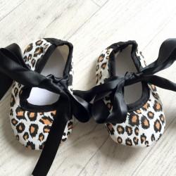 Ballerine souple bébé 0 à 12 mois, modèle Léopard noir