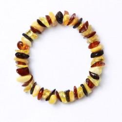 Bracelet d' Ambre élastique bébé Perles Pépites - Multicolores