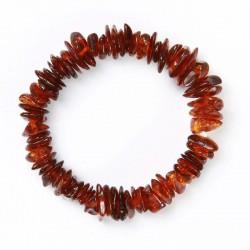 Bracelet d' Ambre élastique bébé Perles Pépites - Cognac