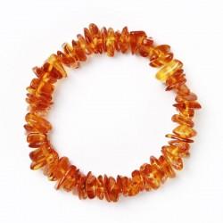 Bracelet d' Ambre élastique bébé Perles Pépites - Caramel léger