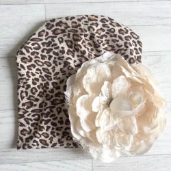 Bonnet en coton modèle léopard fleur crème