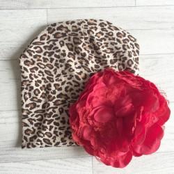 Bonnet en coton modèle léopard fleur rouge