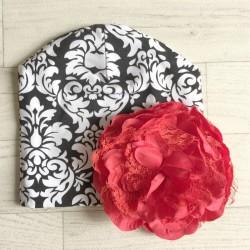 Bonnet en coton modèle baroque fleur rouge