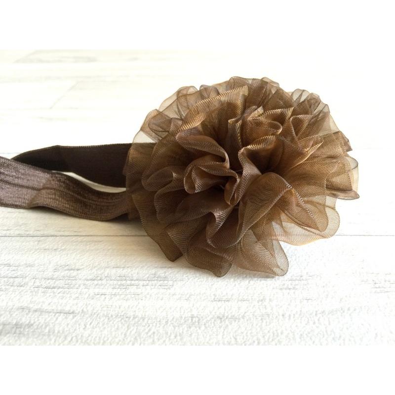 bandeau cheveux pour b b fille mod le boule de tulle moka. Black Bedroom Furniture Sets. Home Design Ideas