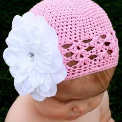Rose - Noir Bonnet + barrette fleur Pétunia  bébé 0 à 18 mois