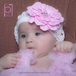 Blanc - Rose Bonnet + barrette fleur Pétunia  bébé 0 à 3 ans