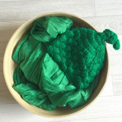 Vert foncé. Set wrap coton + bonnet séance photo new born
