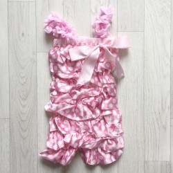 Salopette bébé en satin modèle polka rose clair