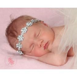Bandeau couronne en perles et strass, modèle Alisée