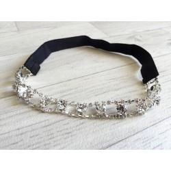 Bandeau couronne en perles et strass, modèle Inès