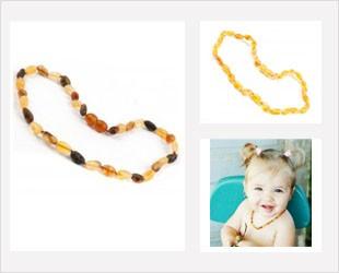 Les colliers d'Ambre pour bébé forme Grain de café