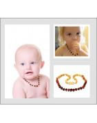 Les colliers baroque, forme bille en Ambre pour bébé de 0 à 3 ans