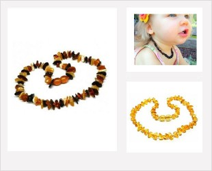 Les colliers d' Ambre pour bébé forme pépite