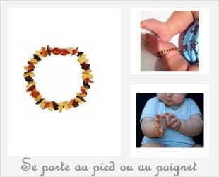Les bracelets d'Ambre pour bébé forme Pépite