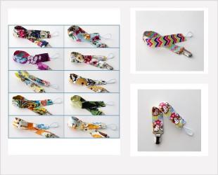 Attache sucette ruban, large choix de motifs et couleurs